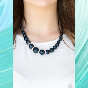Party Pearls Navy Blue Pearl Necklace Set